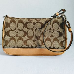 Coach Signature Canvas and Leather Wristlet